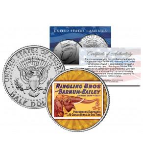 RINGLING BROS. AND BARNUM & BAILEY CIRCUS - Elephant - Colorized JFK Half Dollar U.S. Coin