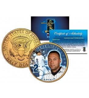 "DEREK JETER "" Captain "" Colorized JFK Kennedy Half Dollar U.S. Coin 24K Gold Plated"