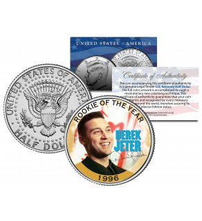 DEREK JETER 1996 Kennedy JFK Half Dollar Colorized U.S. Coin ROOKIE OF THE YEAR