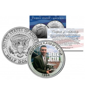DEREK JETER 1994 Kennedy JFK Half Dollar U.S. Coin MINOR LEAGUE PLAYER OF THE YEAR