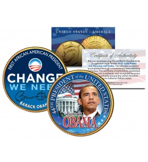 "BARACK OBAMA "" Change We Need "" 24K Gold Plated JFK Kennedy Half Dollar US Colorized Coin"