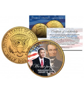 BARACK OBAMA with Abraham Lincoln - Inauguration - 2009 JFK Half Dollar US Coin 24K Gold Plated
