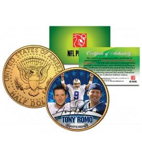 TONY ROMO Colorized JFK Kennedy Half Dollar 24K Gold Plated US Coin DALLAS COWBOYS