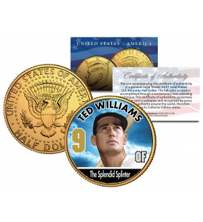 TED WILLIAMS Baseball Legends JFK Kennedy Half Dollar 24K Gold Plated US Coin