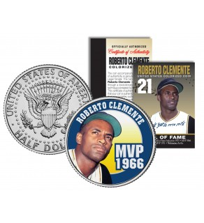 ROBERTO CLEMENTE 1972 JFK Kennedy Half Dollar Colorized U.S. Coin MVP