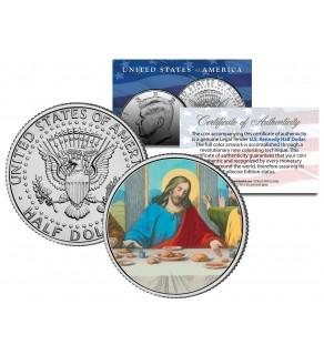 JESUS CHRIST - LAST SUPPER - JFK Kennedy Half Dollar U.S. Colorized Coin
