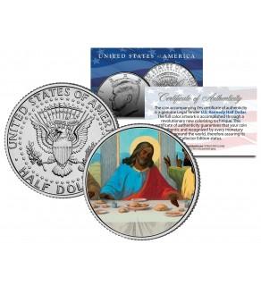 JESUS CHRIST - African American - LAST SUPPER - Black - JFK Kennedy Half Dollar U.S. Colorized Coin