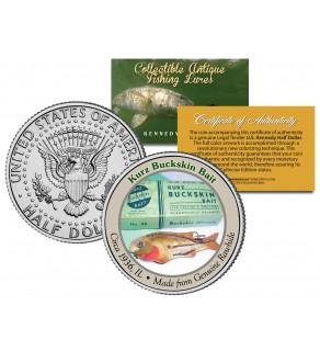 KURZ BUCKSKIN BAIT Collectible Antique Fishing Lures JFK Kennedy Half Dollar US Coin