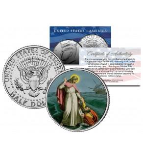 JESUS CHRIST - WALKING ON WATER - JFK Kennedy Half Dollar U.S. Colorized Coin