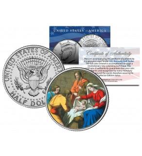 JESUS CHRIST - NATIVITY - JFK Kennedy Half Dollar U.S. Colorized Coin