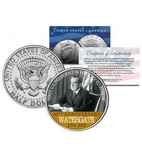 RICHARD NIXON - Resignation WATERGATE 40th Anniversary - 2014 JFK Half Dollar US Colorized Coin
