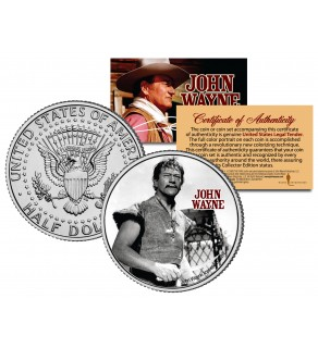 "JOHN WAYNE - MOVIE "" The Conqueror "" JFK Kennedy Half Dollar US Coin - Officially Licensed"