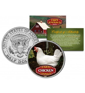 CHICKEN Collectible Farm Animals JFK Kennedy Half Dollar U.S. Colorized Coin