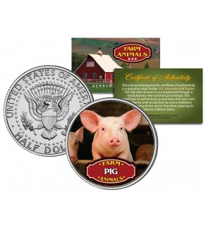 PIG Collectible Farm Animals JFK Kennedy Half Dollar U.S. Colorized Coin