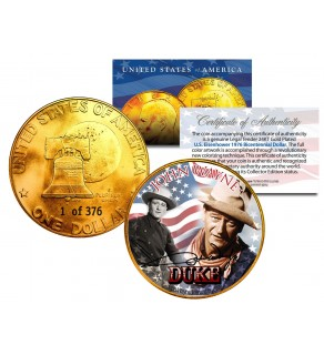 1976 JOHN WAYNE 24K Gold Plated IKE Dollar - Each Coin Serial Numbered of 376 - Officially Licensed