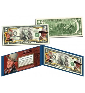 "JOHN WAYNE "" The Duke "" Colorized U.S. $2 Bill Legal Tender - Officially Licensed"