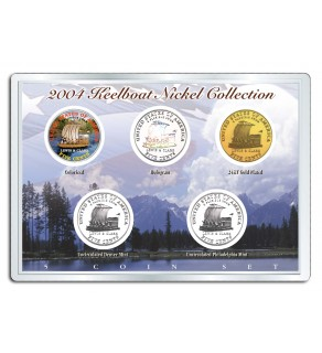 2004 KEELBOAT NICKEL Westward Journey 5-Coin US Set - P&D - Hologram - Colorized - 24K Gold Plated