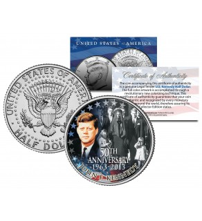 PRESIDENT KENNEDY ASSASSINATION - Funeral Jackie Onassis - JFK Kennedy Half Dollar U.S. Colorized Coin