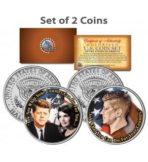 PRESIDENT JOHN F. KENNEDY - Jackie/John Jr. - Famous Quote on JFK Kennedy Half Dollar U.S. 2-Coin Set