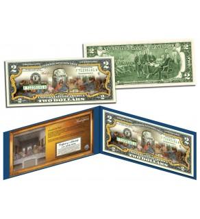 LAST SUPPER by Leonardo da Vinci - Famous Masterpieces - Genuine Legal Tender Colorized U.S. $2 Bill