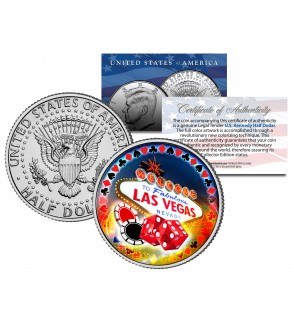 Welcome to LAS VEGAS Sign Colorized JFK Kennedy US Half Dollar - LUCKY COIN Poker Casino