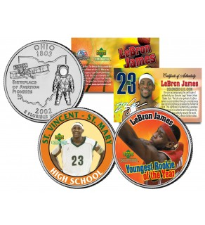 LEBRON JAMES - St Vincent St Mary High School & Youngest Rookie of the Year - Ohio Quarters 2-Coin U.S. Set - Officially Licensed