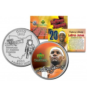 LEBRON JAMES Colorized Ohio Statehood Quarter U.S. Coin - PRE-ROOKIE - Officially Licensed