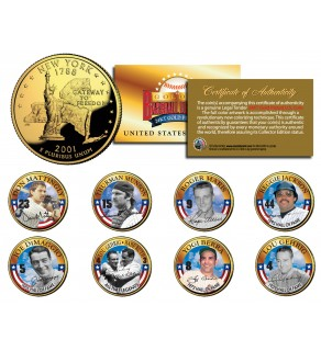 NY YANKEES GREATS Statehood New York 24K Gold Plated Quarters U.S. 8-Coin Complete Set