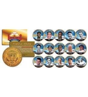 GOLDEN BASEBALL LEGENDS Colorized JFK Half Dollars 15-Coin Set 24K Gold Plated - Officially Licensed
