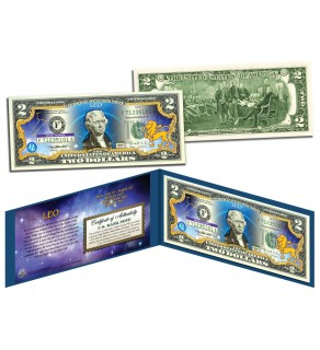 LEO - Horoscope Zodiac - Genuine Legal Tender Colorized U.S. $2 Bill