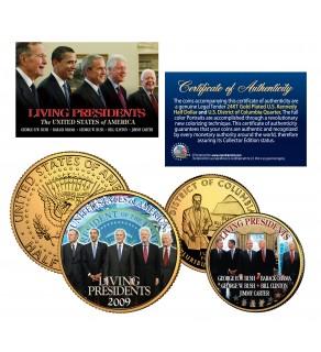 LIVING PRESIDENTS Quarter & JFK Half Dollar 2-Coin Set OBAMA BUSH CLINTON Jimmy CARTER 24K Gold Plated