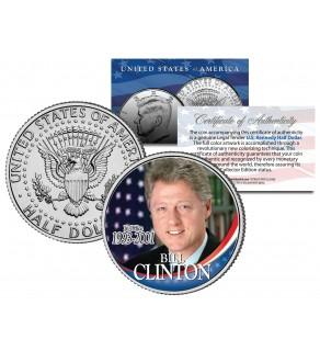 President BILL CLINTON - In Office 1993-2001 - JFK Kennedy Half Dollar Colorized U.S. Coin