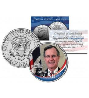President GEORGE HW BUSH - In Office 1989-1993 - JFK Half Dollar Colorized U.S. Coin