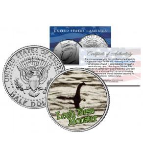LOCH NESS MONSTER - Scotland - Surgeon's Photo - JFK Kennedy Half Dollar US Colorized Coin