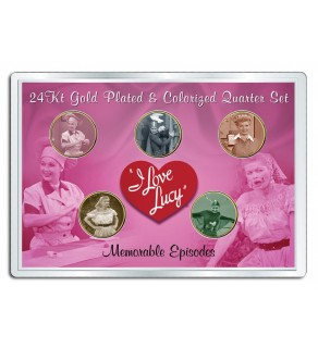 I LOVE LUCY - Memorable Episodes - 24K Gold California Parks Quarters US 5-Coin Set w/4x6 - Officially Licensed