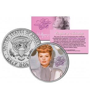 Lucille Ball - I Love Lucy Color Portrait - JFK Kennedy Half Dollar US Coin - Officially Licensed