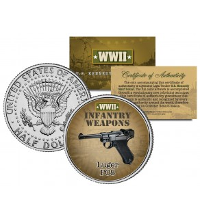 LUGER PO8 - WWII Infantry Weapons - JFK Kennedy Half Dollar U.S. Coin