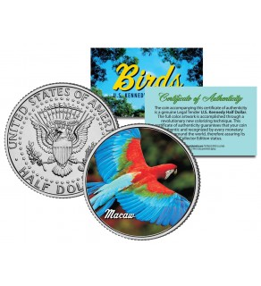 MACAW Collectible Birds JFK Kennedy Half Dollar Colorized US Coin