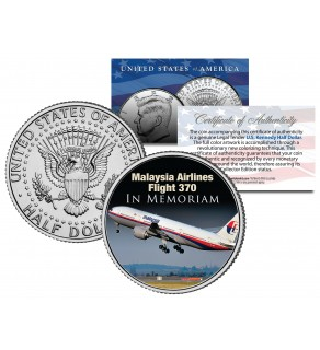 MALAYSIA AIRLINES FLIGHT 370 In Memoriam JFK Kennedy Half Dollar Colorized Coin