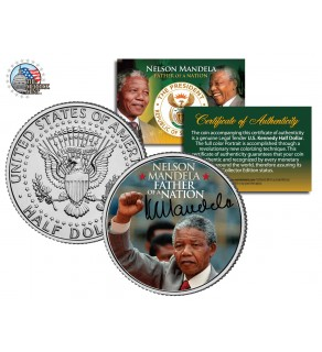 NELSON MANDELA - Father of the Nation - JFK Kennedy Half Dollar US Coin