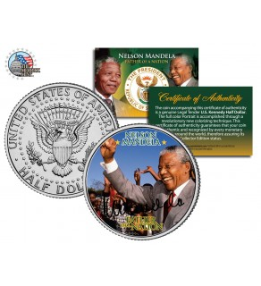 """NELSON MANDELA - Father of the Nation - """" Victory """" JFK Kennedy Half Dollar US Coin"""