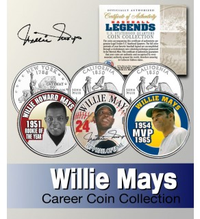 Baseball Legend WILLIE MAYS California & NY Statehood Quarters US Colorized 3-Coin Set - Officially Licensed