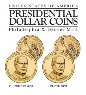 WILLIAM McKINLEY 2013 Presidential $1 Dollar 2-Coin US Mint Set - BOTH P&D MINT