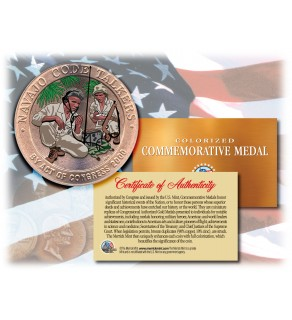 Colorized NAVAJO CODE TALKERS - Commemorative Medal - Bronze Coin US Marines WWII