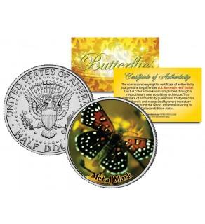 METAL MARK BUTTERFLY JFK Kennedy Half Dollar U.S. Colorized Coin