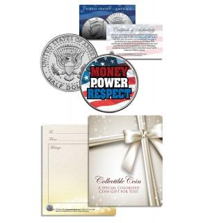 MONEY POWER RESPECT - Flag - USA - Floyd Mayweather - JFK Kennedy Half Dollar US Colorized Coin