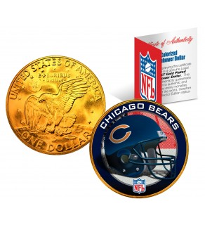 CHICAGO BEARS NFL 24K Gold Plated IKE Dollar US Colorized Coin - Officially Licensed