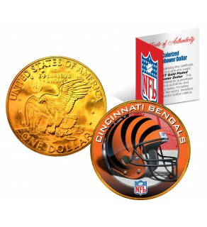 CINCINNATI BENGALS NFL 24K Gold Plated IKE Dollar US Colorized Coin - Officially Licensed