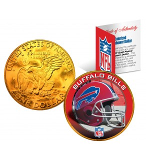 BUFFALO BILLS NFL 24K Gold Plated IKE Dollar US Colorized Coin - Officially Licensed
