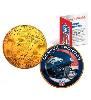 DENVER BRONCOS NFL 24K Gold Plated IKE Dollar US Colorized Coin - Officially Licensed